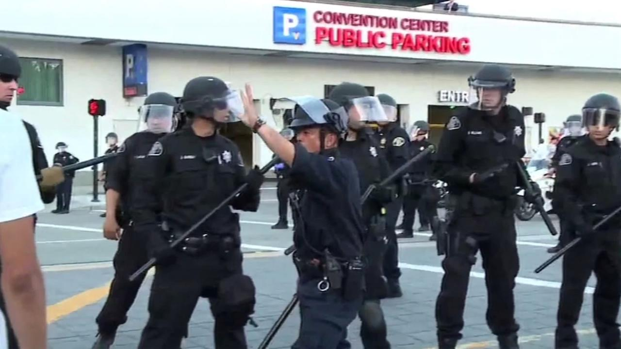 The San Jose Police Department outside of a Donald Trump rally in San Jose, Calif., on Thursday, June 2, 2016.