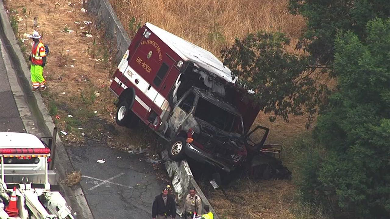 San Francisco fire officials say a stolen ambulance crashed on the Treasure Island exit on Tuesday, June 7, 2016.KGO-TV
