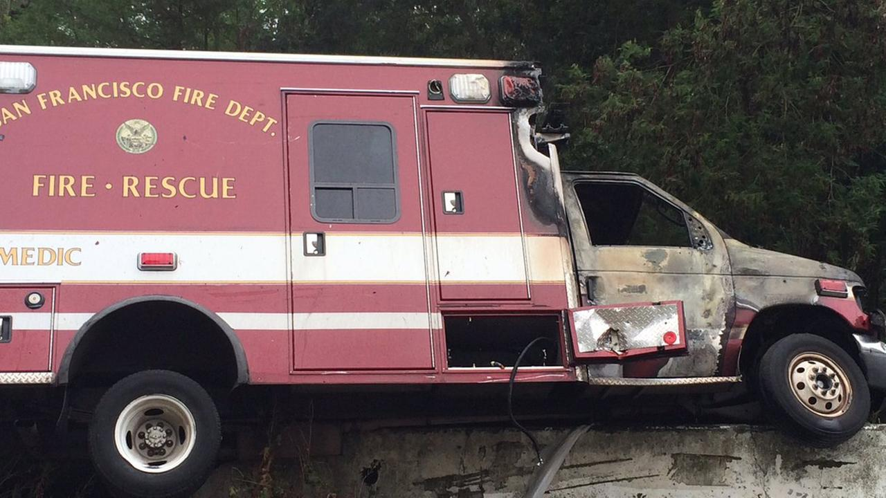 An ambulance caught fire after police say they pursued it to the eastbound Treasure Island off ramp from the Bay Bridge, Tuesday, June 7, 2016.SFFD/Twitter