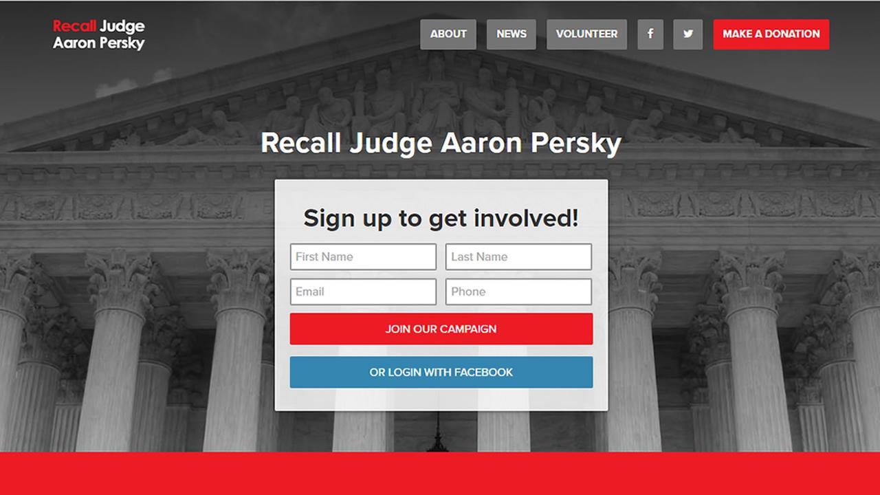This screenshot from Tuesday, June 7, 2016 shows a website calling for Judge Aaron Persky to be recalled.