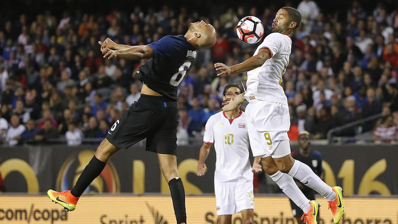 United States John Brooks and Costa Ricas Alvaro Saborio battle during a Copa America Centenario soccer match in Chicago, June 7, 2016. (AP Photo/Charles Rex Arbogast)