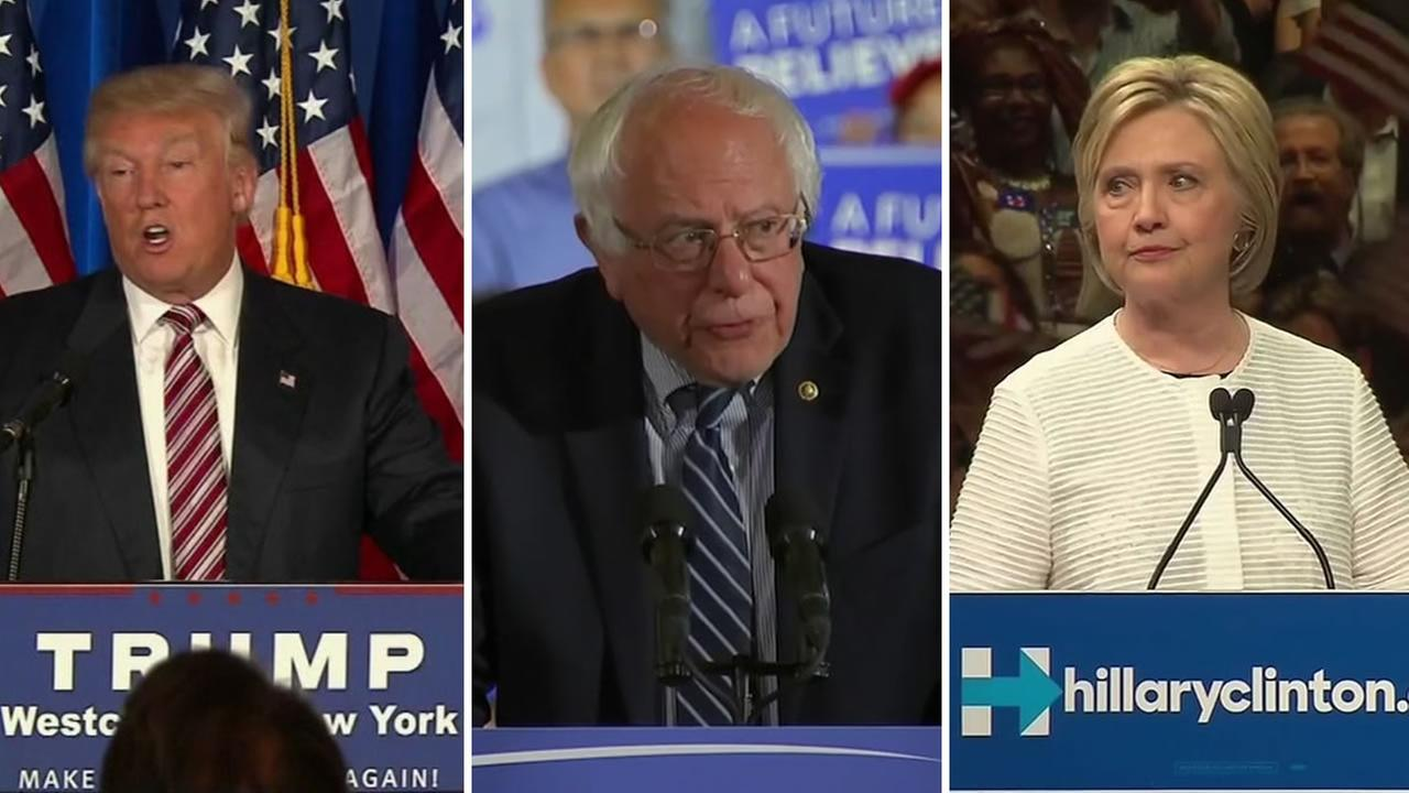 From left to right: Donald Trump, Bernie Sanders, and Hillary Clinton address supporters at separate rallies on June 7, 2016.
