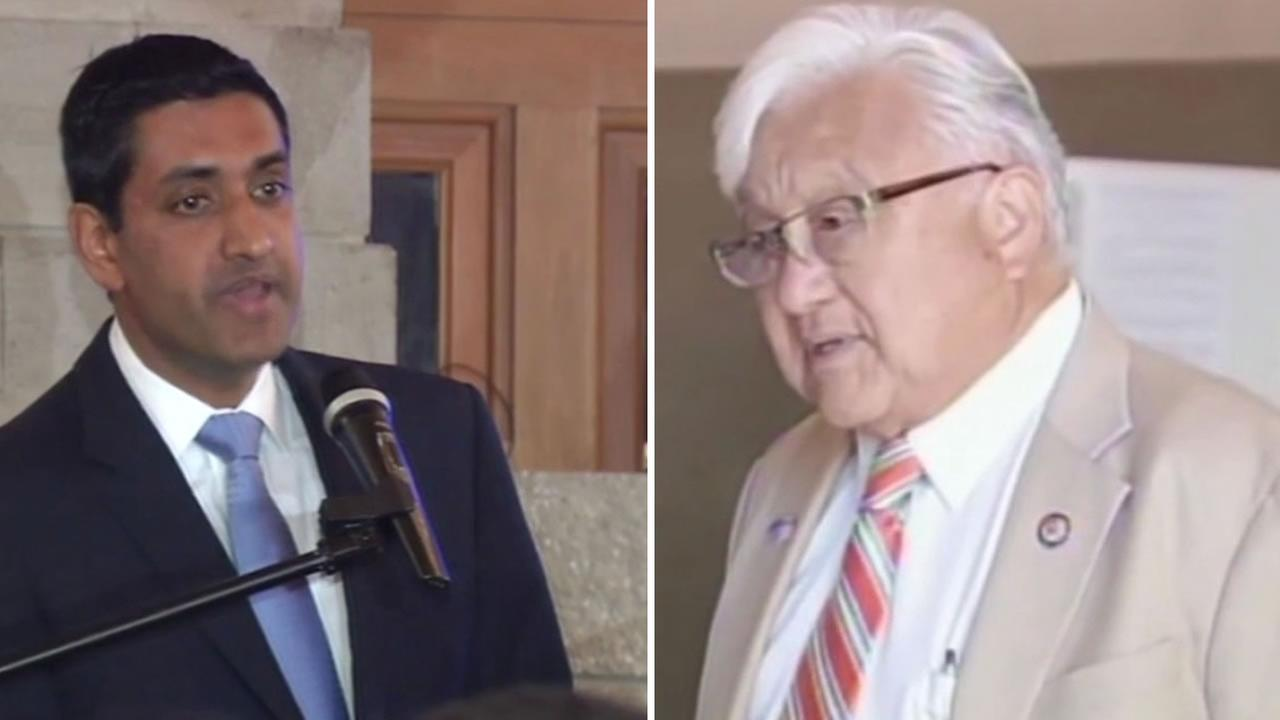 This image shows incumbent Mike Honda and Rho Khana who are running for United States House of Representatives for District 17 on June 7, 2016.