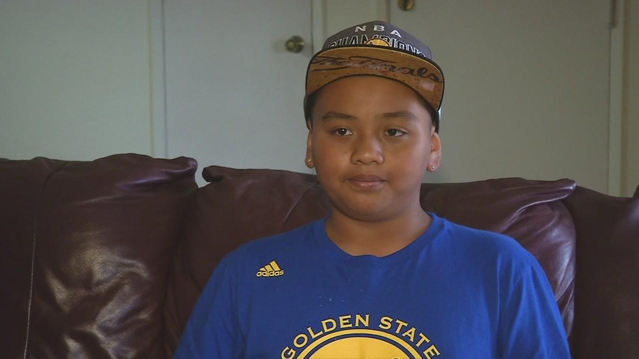 Jacob Soriano, 12, is back at home after being stabbed at a San Leandro, Calif. Wells Fargo on Monday, June 6, 2016.