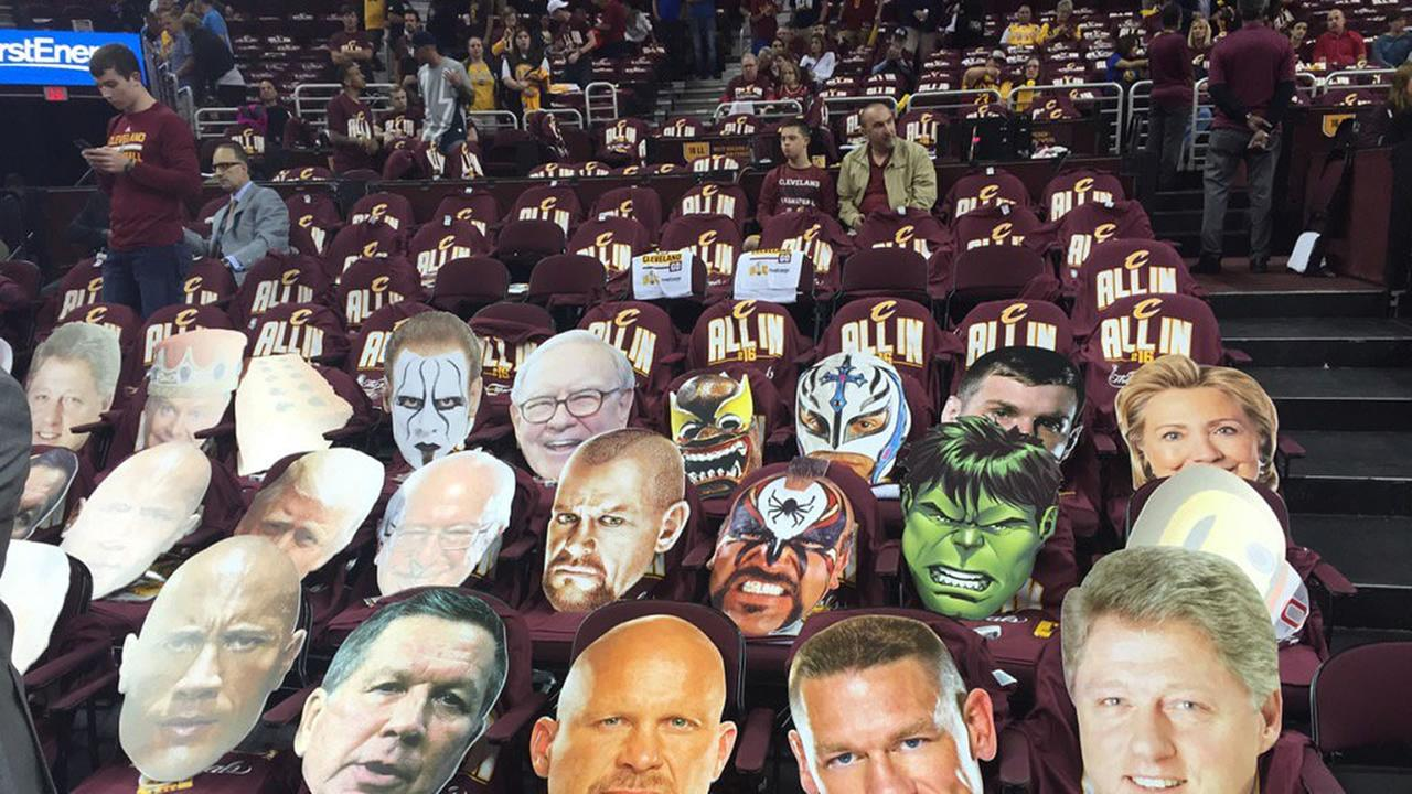 This image photos of famous people covering seats at the Quicken Loans Arena in Cleveland, Ohio on June 8, 2016.KGO-TV