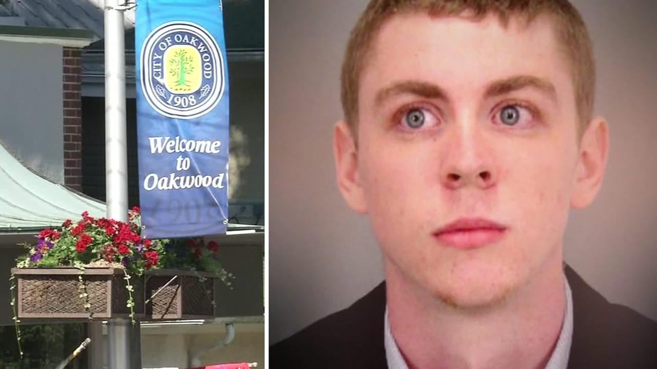 On the left, a sign for the town of Oakwood, Ohio is seen on Wednesday, June 9, 2016. An undated photo of Brock Turner is seen to the right.