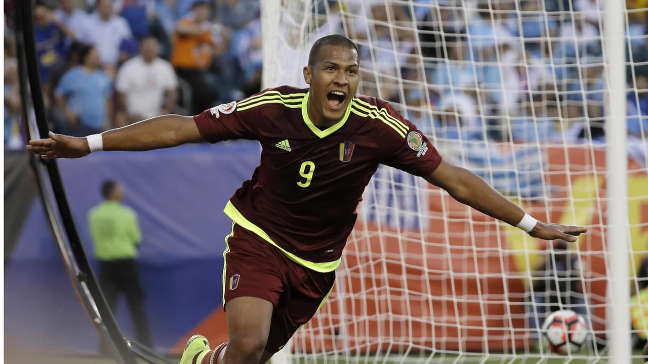 Venezuelas Rondon reacts after scoring a goal during the first half of a Copa America Group C soccer match against Uruguay on Thursday, June 9, 2016, in Philadelphia. (AP Photo)