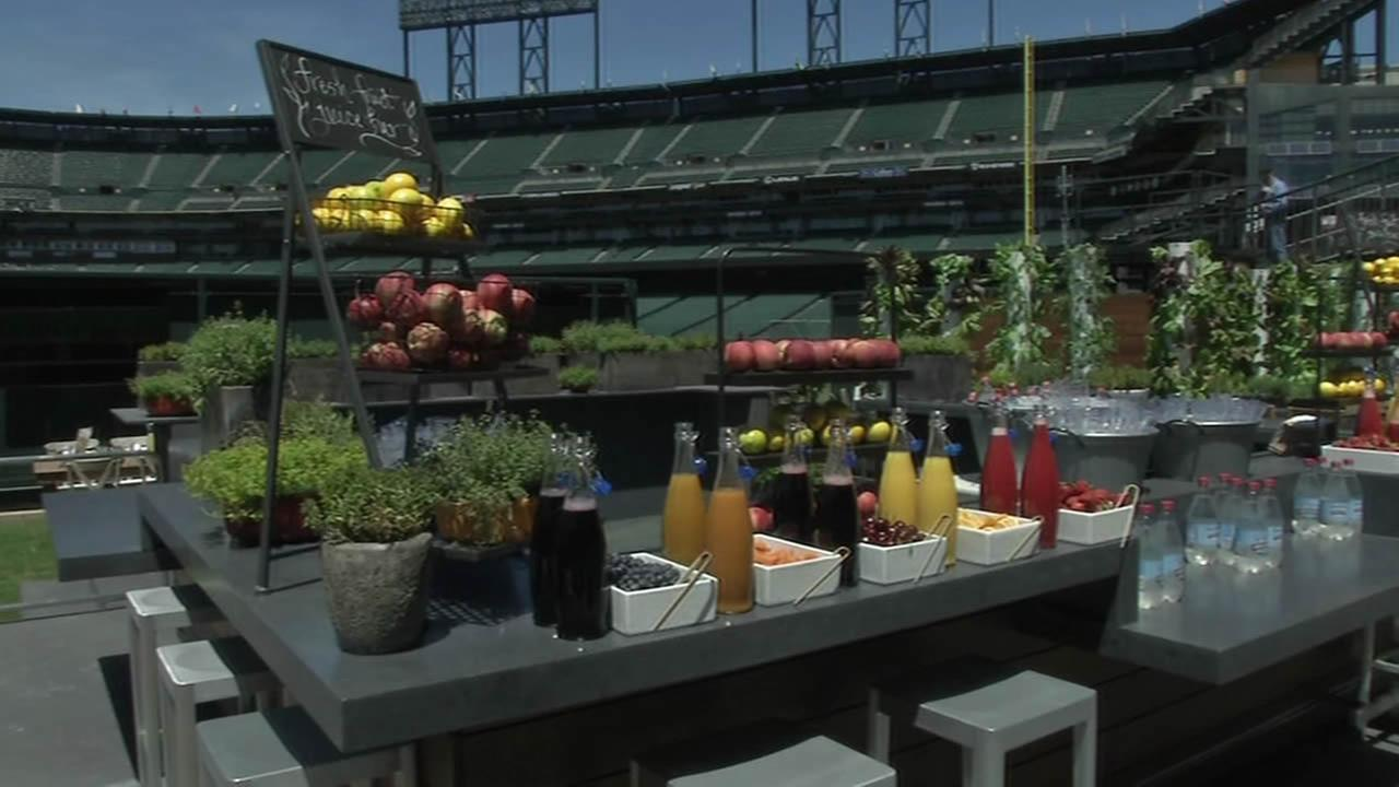Fruits and Veggies on table at AT&T Park