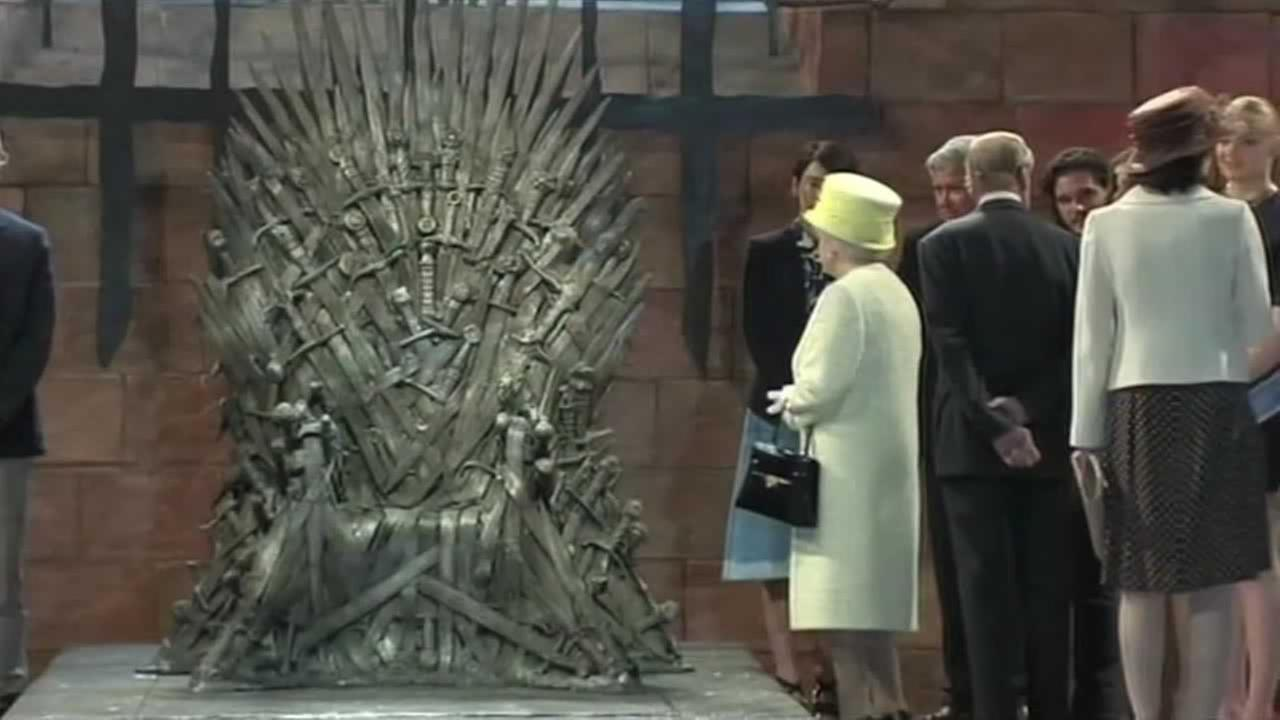 Britains Queen Elizabeth pays a visit to the Game of Thrones set on Tuesday.