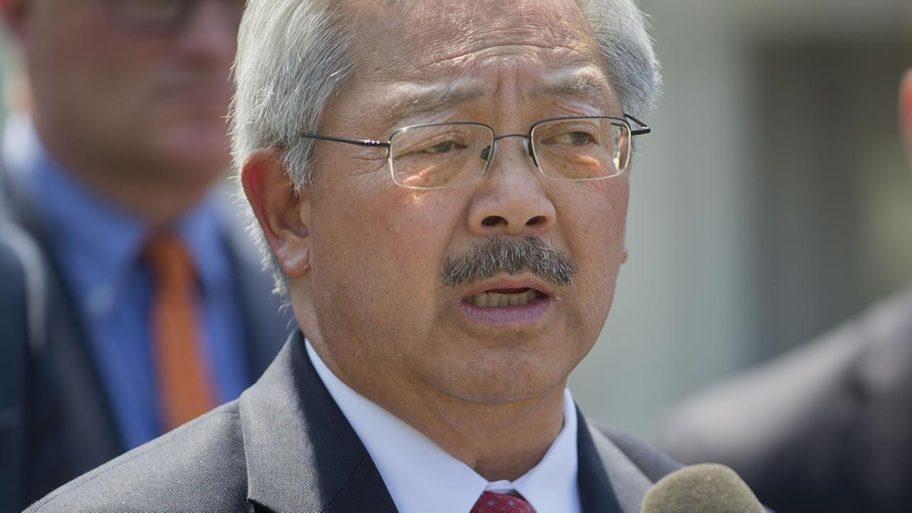 San Francisco Mayor Ed Lee speaks to members of the media in Washington on May 24, 2016, following a meeting about preventing gun violence. (AP Photo/Pablo Martinez Monsivais)
