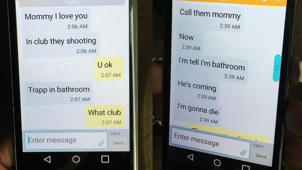 Mina Justice shows a text she received from her son Eddie Justice at Pulse nightclub during a fatal shooting in Orlando, Fla., Sunday, June 12, 2016. Justice hasnt heard from her son since the messages. (Courtesy of Mina Justice via AP)