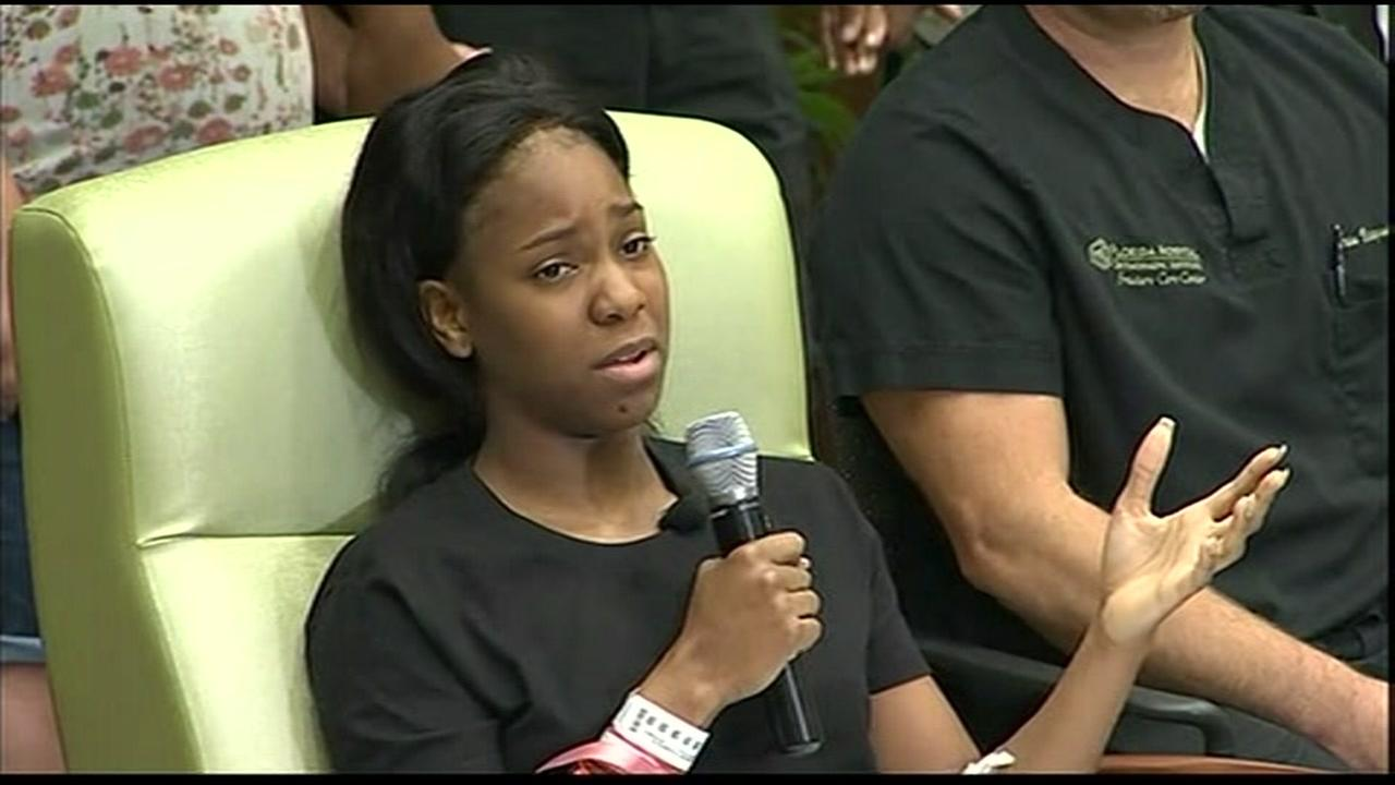 Twenty-year-old Patience Carter talked about the nightclub shooting from a hospital in Orlando, Florida on Tuesday, June 14, 2016 where she is recovering from a gunshot wound.