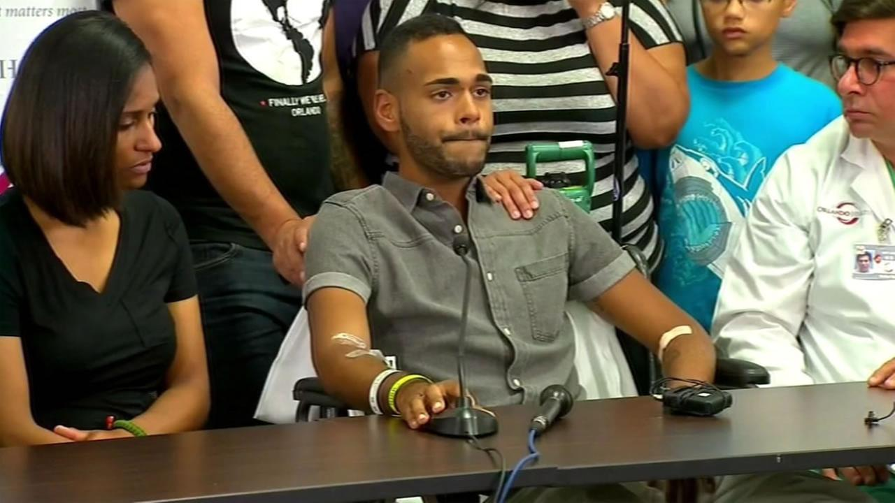 This image shows Justin Gonzalez, one of the victims in the Orlando nightclub shooting, speaking at a news conference Tuesday, June 14, 2016.