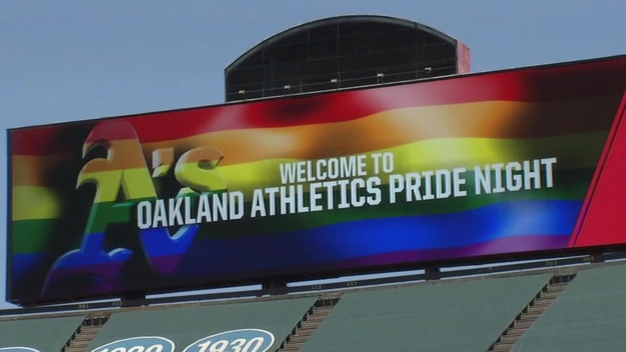 A sign for the Oakland Athletics Pride Night is seen before a game in Oakland, Calif. on Tuesday, June 14, 2016.