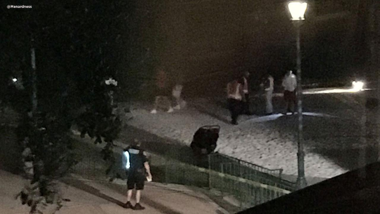 Authorities search for a child who was pulled into the water by an alligator near a Disney resort in Orlando. (@Menardness)