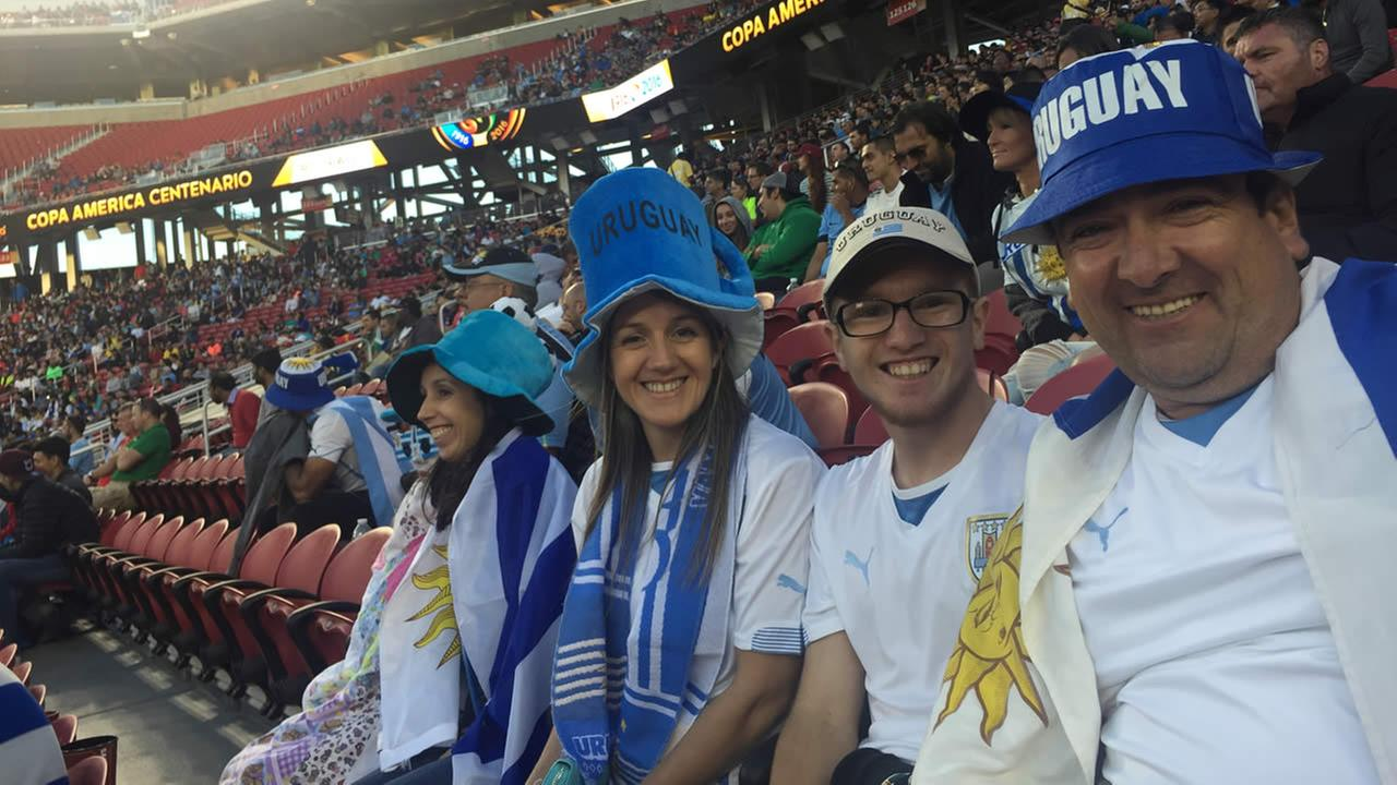 Uruguay fans smile at Copa America at Levis Stadium in Santa Clara, Calif. on Monday, June 15, 2016.