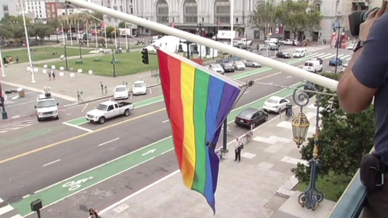 The LGBT flag was raised at San Franciscos City Hall on Friday, June 17, 2016 in honor of Pride Month.
