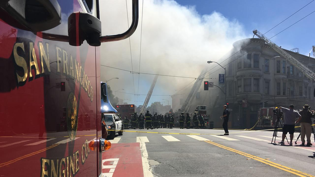 This image shows firefighters battling a 3-alarm fire on the 3300 block of Mission St. in Bernal Heights on June 18, 2016.KGO-TV/ Tim Jue