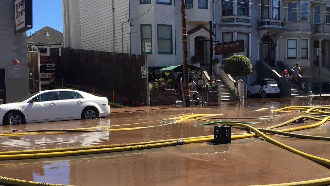 The Mission Street in San Francisco fire triggered flooding in nearby streets due to firefighting runoff on June 18, 2016.KGO-TV/ Sergio Quintana