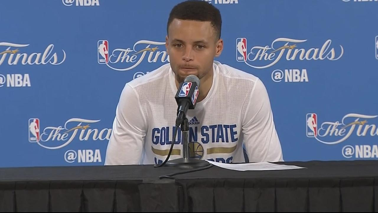 Warriors star Steph Curry speaks during a post-game news conference following Game 7 of the NBA Finals on Sunday, June 19, 2016.