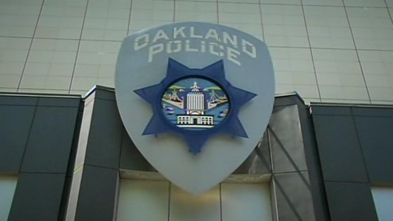 This undated image shows a sign at the Oakland Police Department in Oakland, Calif.