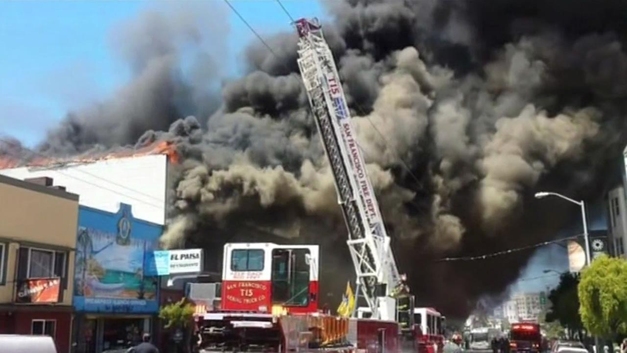 A fire burns at Coles Hardware in San Franciscos Mission District on Saturday, June 18, 2016.KGO-TV