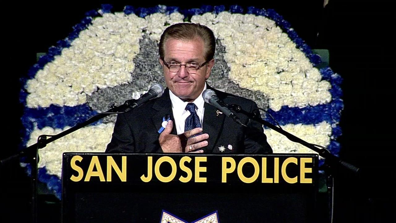 Fallen Officer Michael Kathermans father, Tom, speaks at his memorial service at SAP Center in San Jose, Calif. on Tuesday, June 21, 2016.KGO-TV