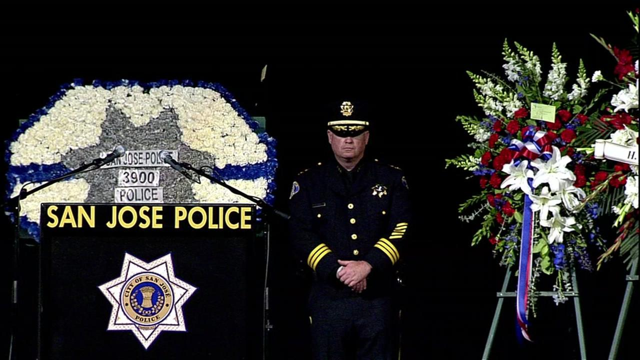 SJPD Assistant Chief Dave Knopf stands at the SAP Center in San Jose, Calif. following Ofc. Michael Kathermans memorial service on Tuesday, June 21, 2016.KGO-TV