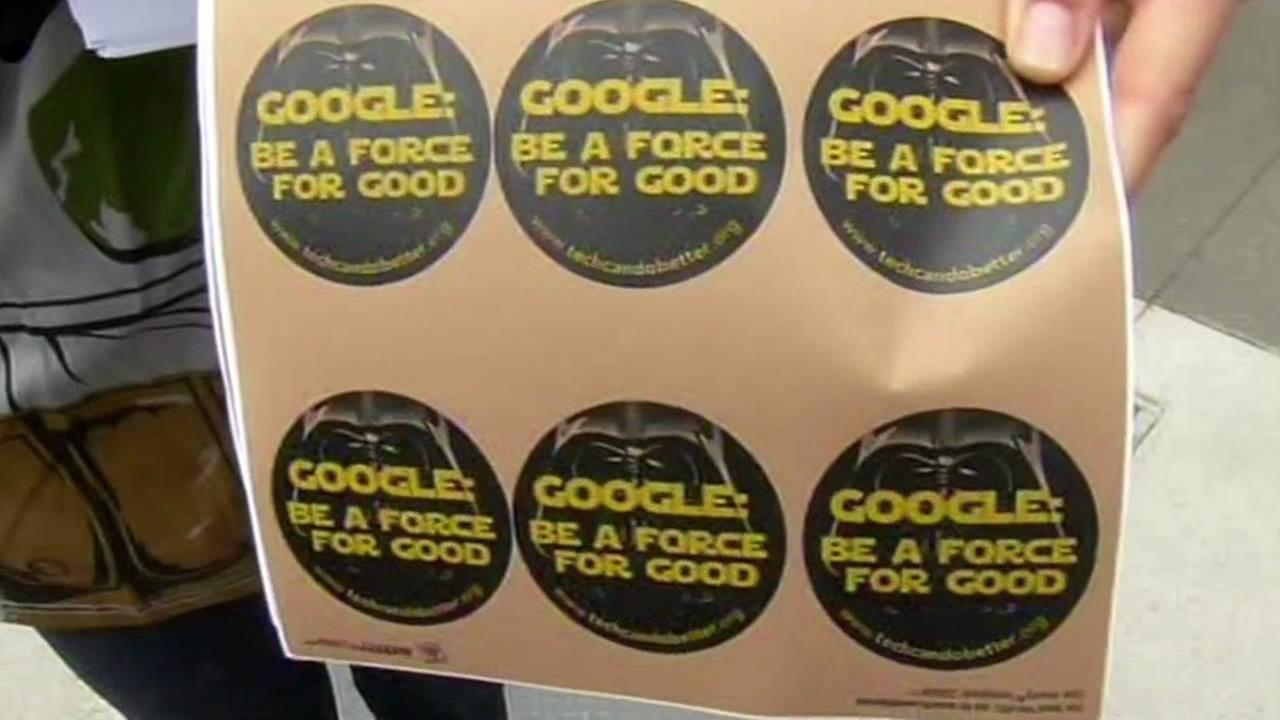 Google: Be a force for good stickers handed outside the tech giants two-day developer conference.