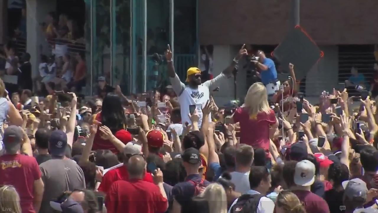 Lebron James at victory parade for Cavaliers in Cleveland, Ohio, Wednesday, June 22 , 2016.