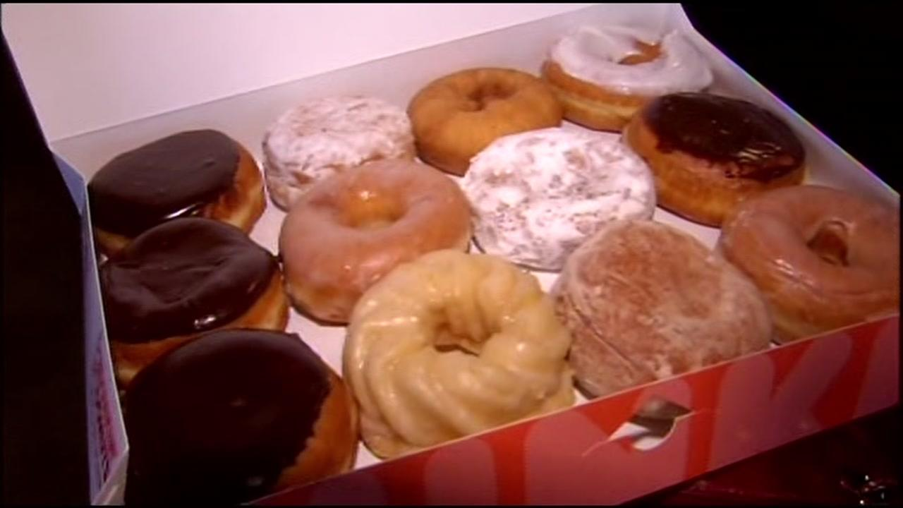 A box of donuts is seen at the grand opening of Dunkin Donuts in Walnut Creek, Calif. on Wednesday, June 22, 2016.