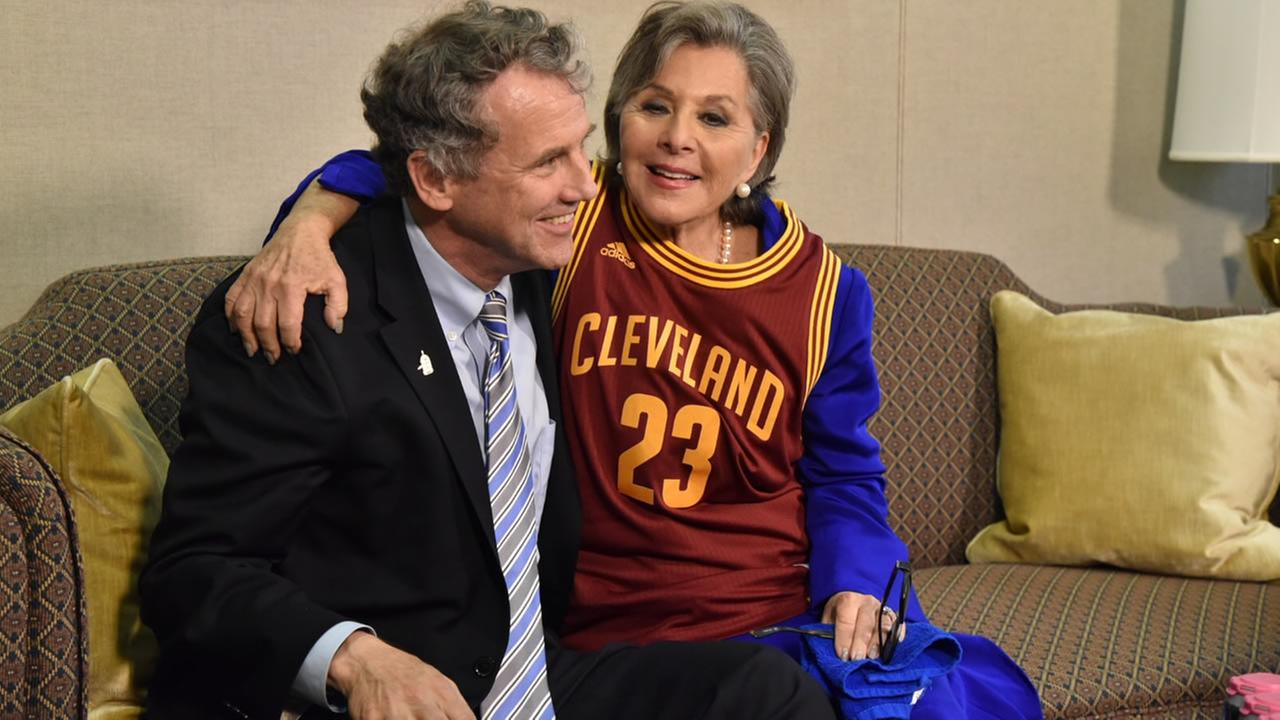 Senator Barbara Boxer settled a friendly wager over the Warriors-Cavs NBA Finals series with Ohio Senator Sherrod Brown on Wednesday, June 22, 2016 in Washington.