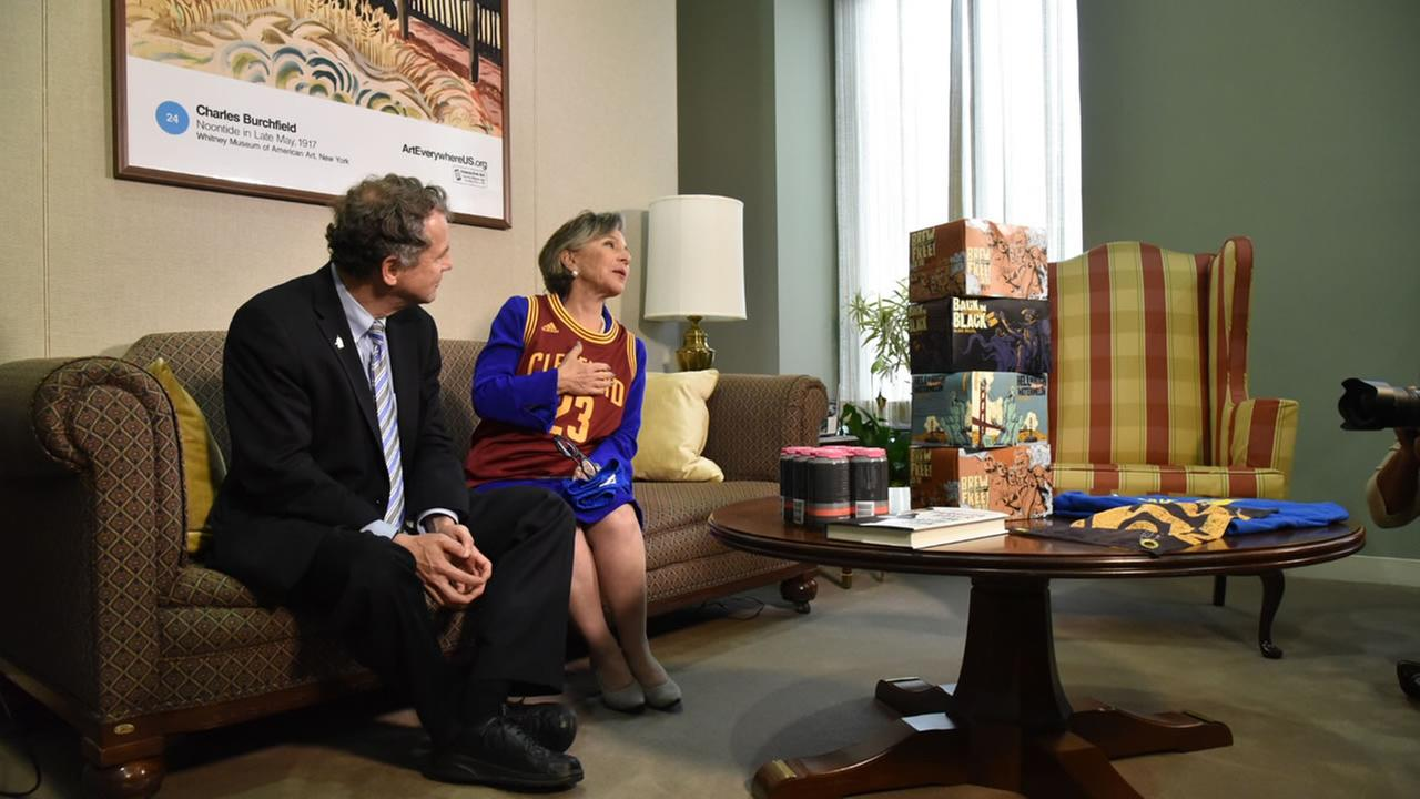 Senator Barbara Boxer settled a friendly wager over the Warriors-Cavs NBA Finals series with Ohio Senator Sherrod Brown on Wednesday, June 22, 2016 in Washington.Barbara Boxer