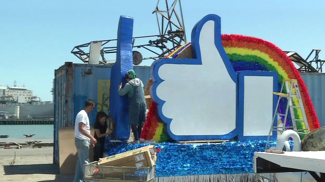 Crews build a Pride Parade float for Facebook on Thursday, June 23, 2016 in San Francisco.
