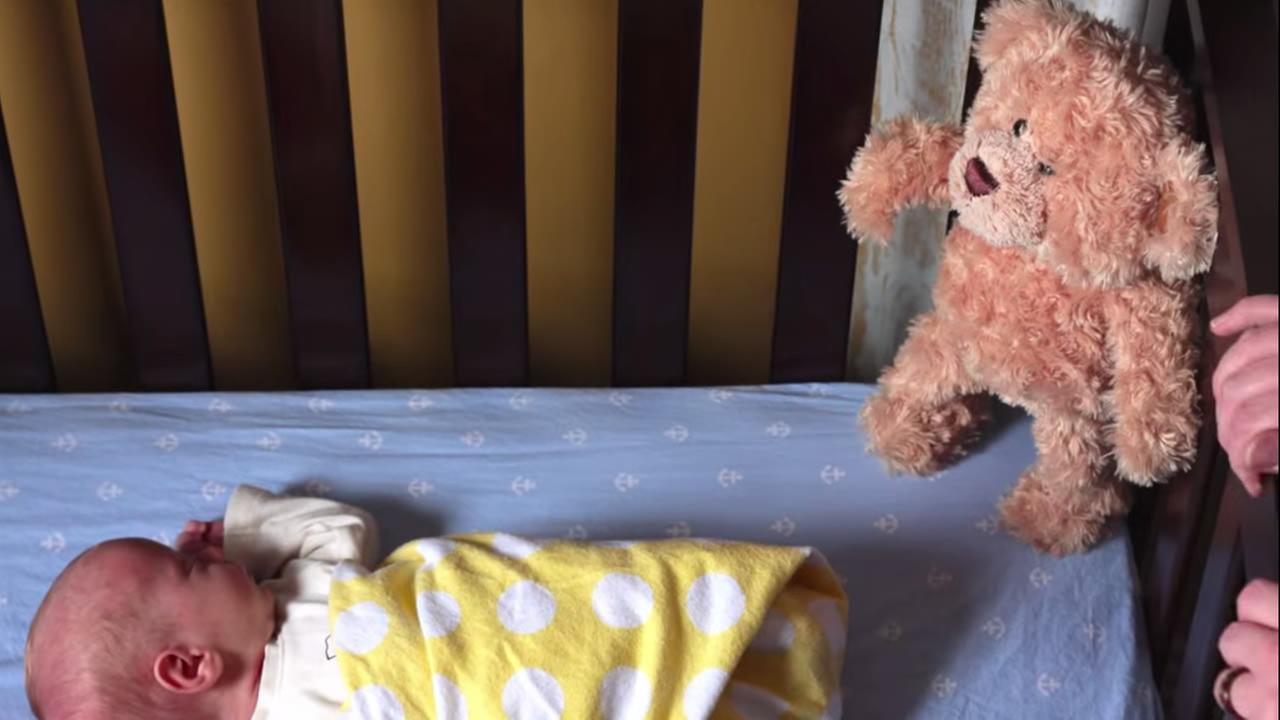 YouTube video of a teddy bear waiting for a newborn.