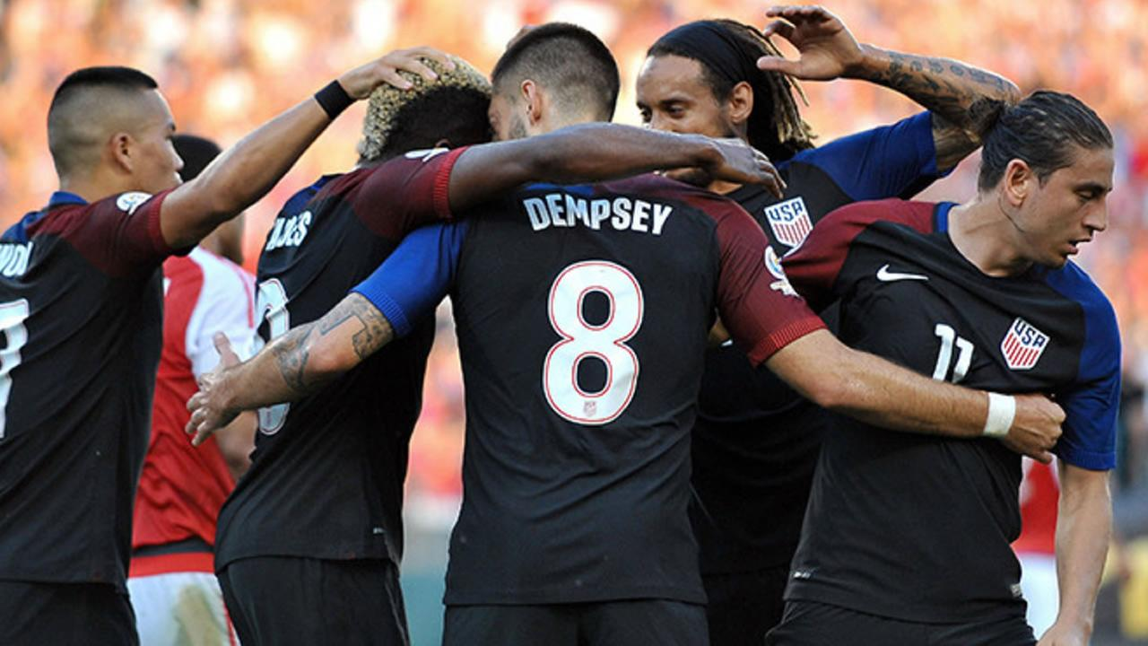 USA celebrate after scoring against Paraguay in the Copa America Centenario on Saturday, June 11, 2016, at Lincoln Financial Field in Philadelphia.