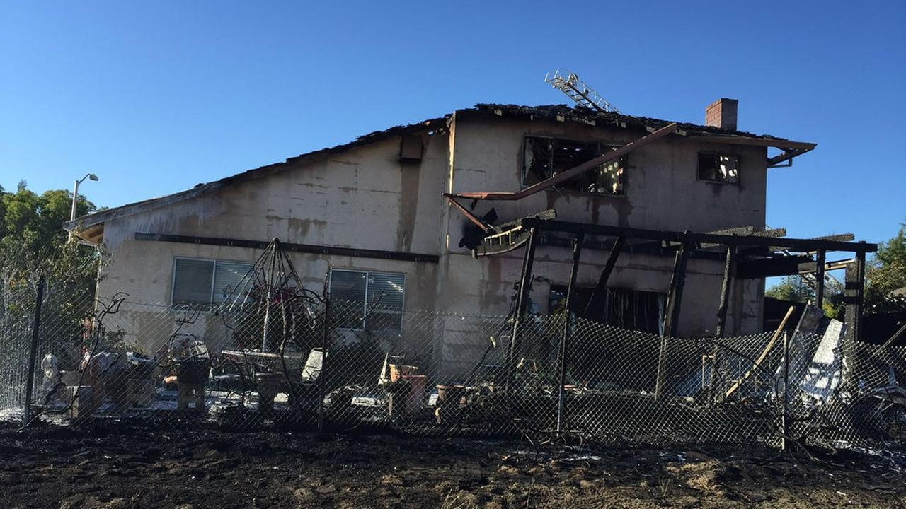 This image shows a home in Antioch, Calif. after it caught fire on June 25, 2016.