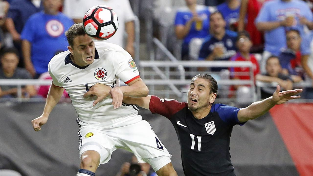 Colombias Santiago Arias (4) as United States Alejandro Bedoya (11) defends during the first half of the Copa America Centenario third-place match June 25, 2016, in Arizona.