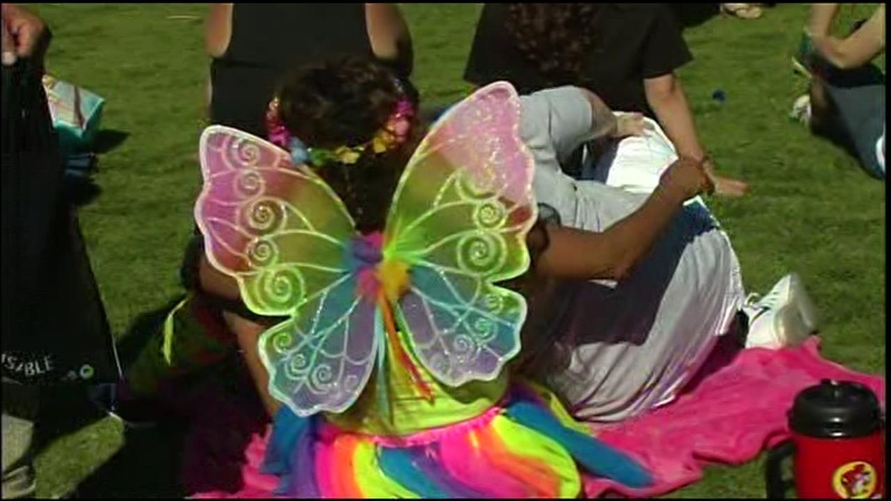 People dressed in colorful costumes at the Dyke March in Delores Park in San Francisco on June 25, 2016.KGO-TV