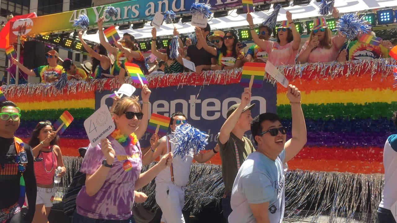 Participants march in the San Francisco Pride Parade on Sunday, June 26, 2016.KGO-TV