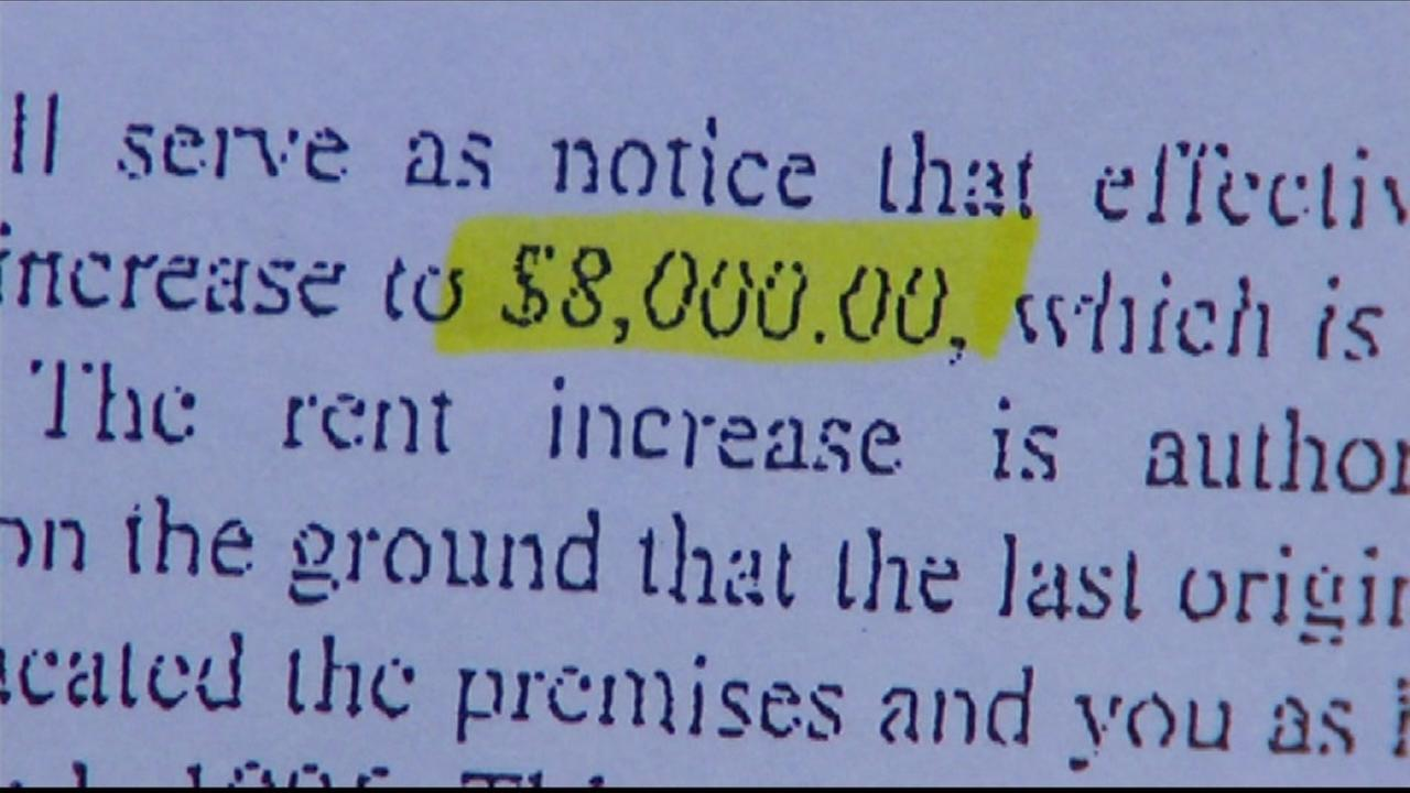 This undated image shows a rent hike amount a San Francisco resident is facing.