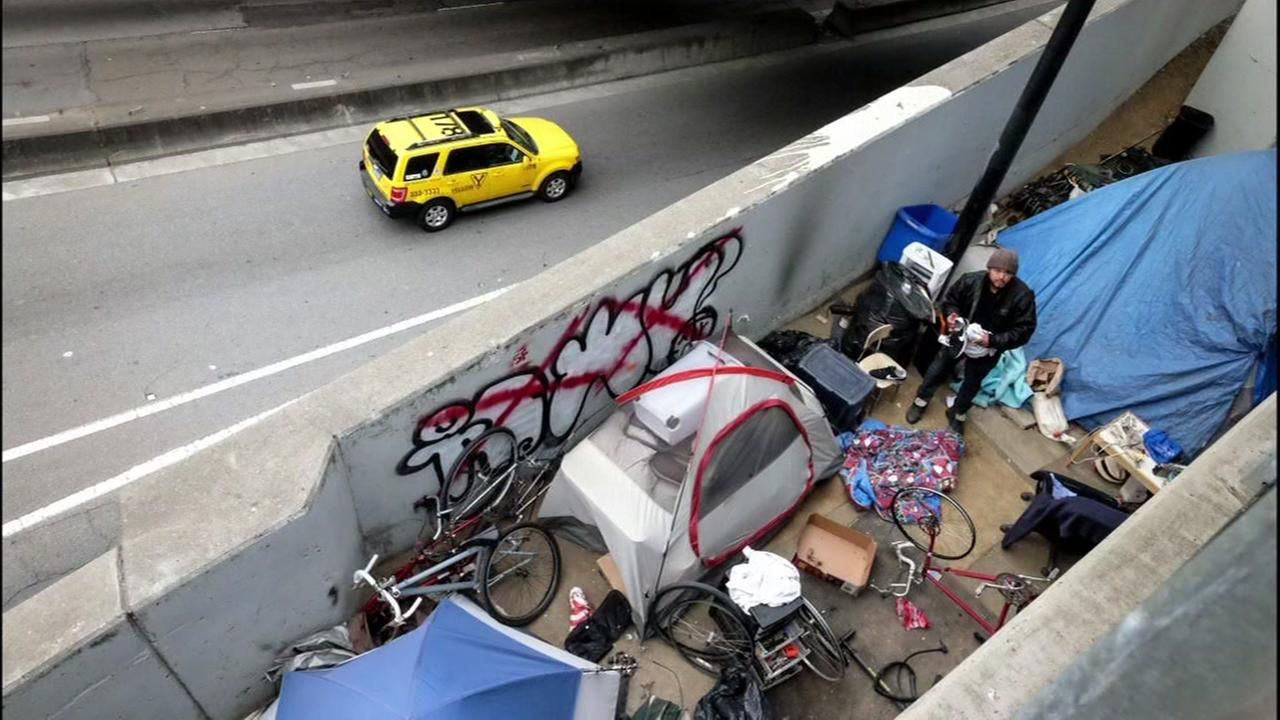 This undated image shows a homeless persons tent in San Franciscos Mission District.