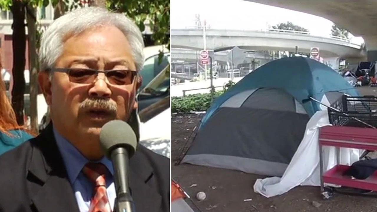 This image shows San Francisco Mayor Ed Lee as he addressed the media on June 29, 2016 following the media initiative to call attention to the citys homeless crisis.