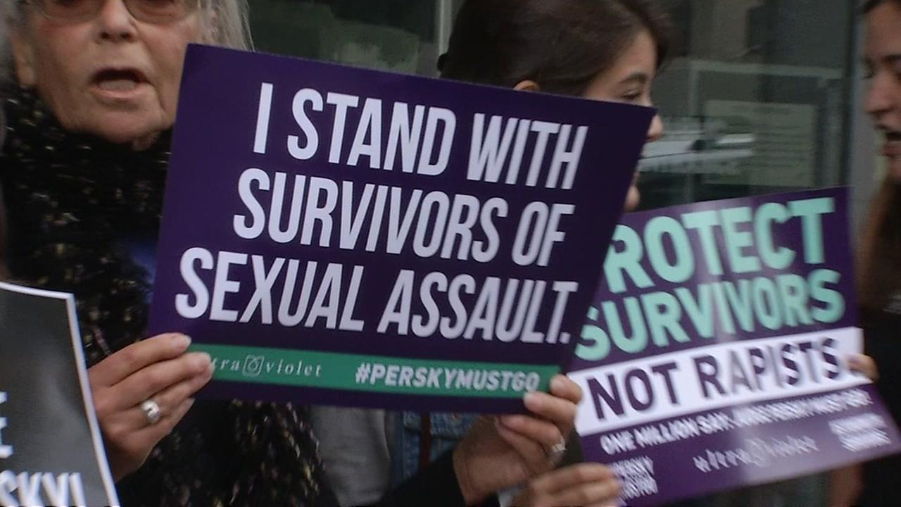 A group of rape survivors gathered in San Francisco on Wednesday, June 29, 2016 calling for the removal of Judge Aaron Persky, who presided over the Stanford sexual assault case.