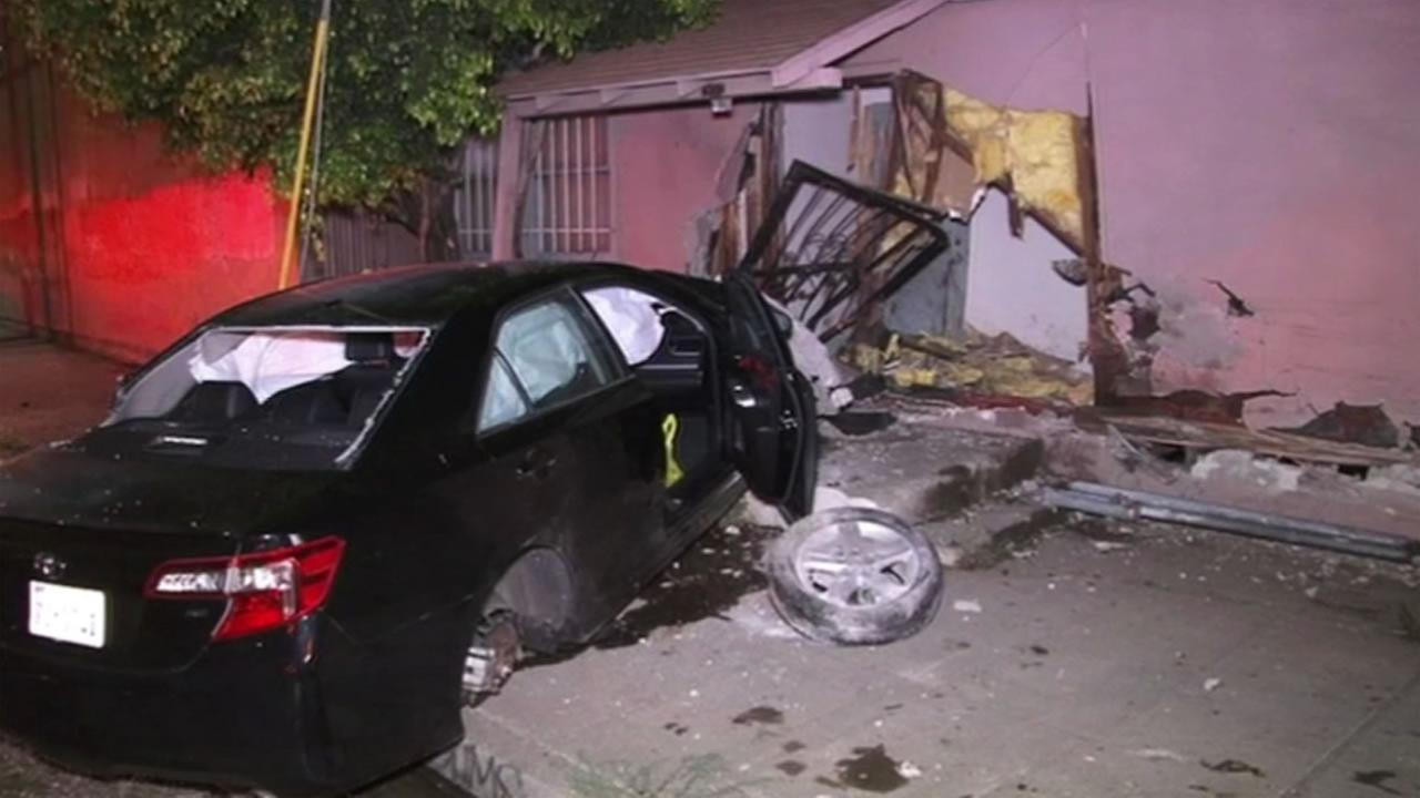 A car crashed into an Oakland, Calif. home on Thursday, June 30, 2016.