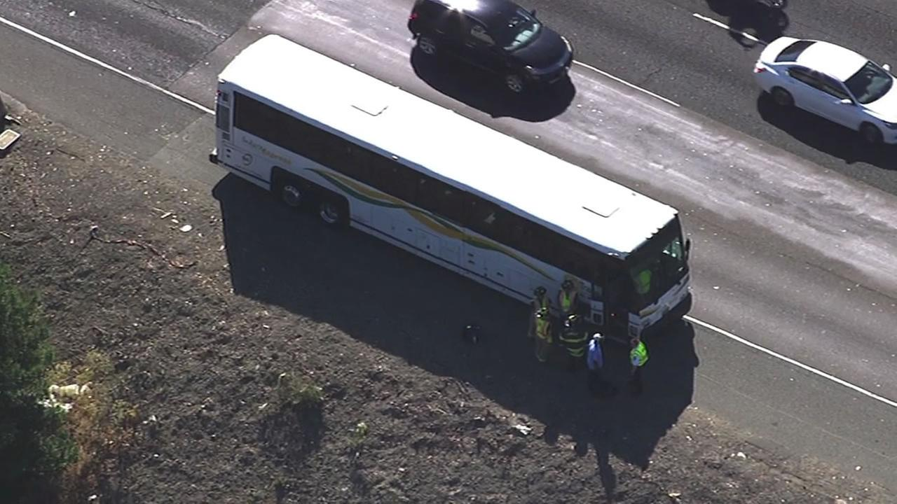 This image shows a bus that crashed on Eastbound Interstate 80 at Pinole Valley Road in Pinole, Calif. on July 5, 2016.