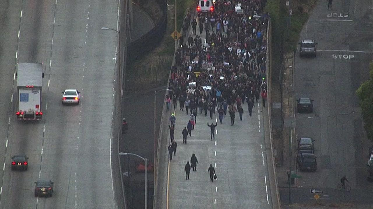 This image shows protesters marching on Interstate 880 on-ramp in Oakland, Calif. on July 7, 2016.