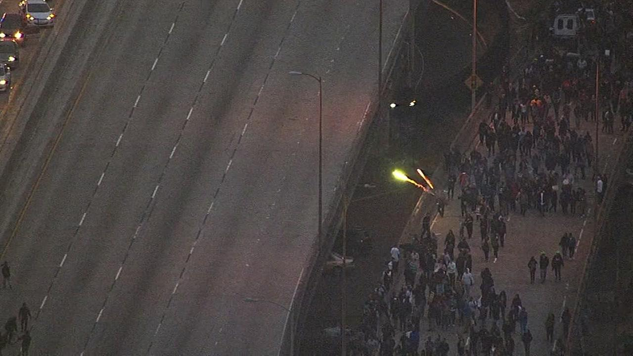 This image shows protesters marching on Interstate 880 in Oakland, Calif. on July 7, 2016.KGO-TV
