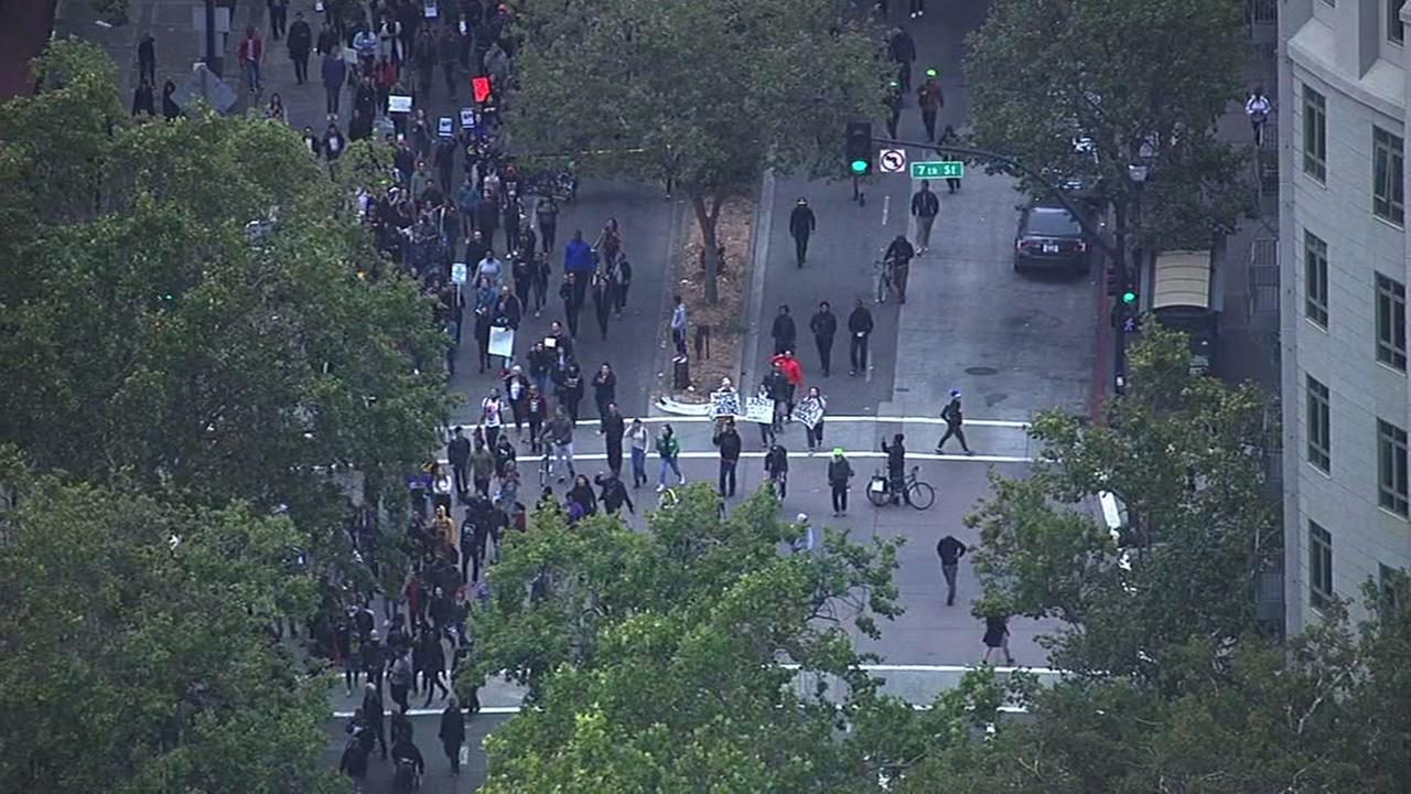 Protesters marching against recent police killings have gathered in downtown Oakland, Calif. on July 7, 2016KGO-TV