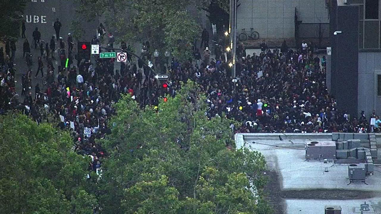 Protesters marching against recent police killings have gathered in dowtown Oakland, Calif. on July 7, 2016KGO-TV